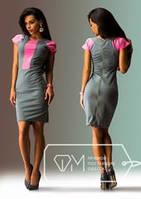 Модное женское платье с розовой вставкой (АИ-4682)