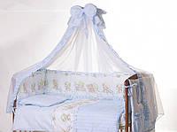 Красивое постельное бельё для детской кроватки Мишки на облаке 8 ед