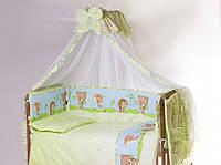 Хлопковый набор для детской кроватки с одеялом и подушкой Счастливые животные 8 ед