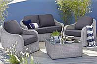 Набор садовой мебели из ротанга Borneo 4 Piece Conversation Sofa Set - Light Grey & Charcoal