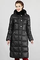 Пуховое полу-пальто с натуральным мехом (кролик)
