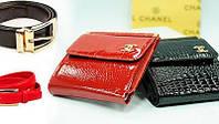 Маленький женский кожаный кошелек Chanel  9026 красный лаковый, расцветки в наличии