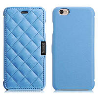 Чехол iCarer для iPhone 6 Microfiber Check Blue (side-open)