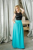 Женское бирюзовое длинное платье в пол