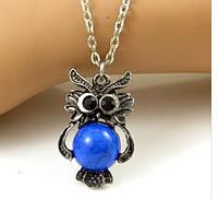 Изысканное ожерелье Сова,  кулон, украшенный синей бирюзой