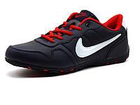 Kроссовки мужские Nike Power Design, темно-синие, кожаные, фото 1