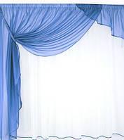 Красивый комплект занавесок для кухни Александра Голубой