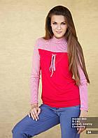 Блузка женская с длинным рукавом красного цвета