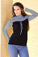 Блузка женская в мелкую полоску черного цвета с длинным рукавом