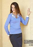 Блузка женская голубого цвета с длинным рукавом