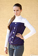 Блузка женская трикотажная с длинным рукавом баклажанового цвета