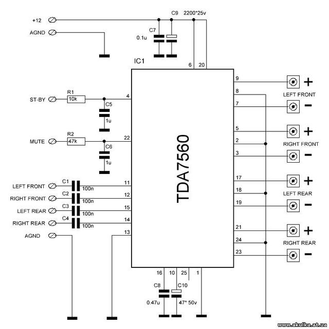 TDA7560 4x45W Flexiwatt-25
