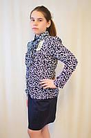 Модная нарядная дешевая блуза для девочки с отложным воротником, рюшами и  длинным рукавом