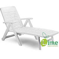 Лежак складной пластиковый, Smeraldo White