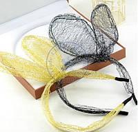 Новинка! Обруч для волос с кроличьими ушками, цвет - черный, золотой