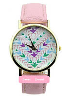 Женские кварцевые наручные часы Женева на ремешке из искусственной кожи, цвет розовый, с рисунком Орнамент