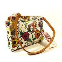 Клатч женский, сумочка, планшет Valensiy 605 белый с цветочным принтом