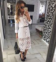 Женское белое платье с кружевом