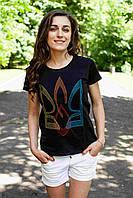 Жіноча футболка з вишивкою Тризуб ВОЛЯ