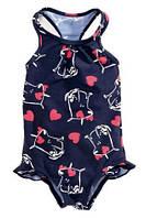 Купальник слитный для ребенка (девочки), 2 расцветки, нейлон + эластан, подкладка из полиэстера, рюшки