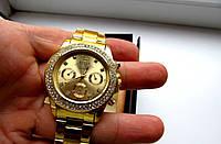 Часы наручные женские Rolex золото в стразах , недорогие часы