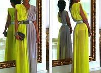 Шифоновое платье с поясом в комплекте