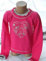 """Детская кофта с длинным рукавом для девочек """"Сердце"""" Малина"""