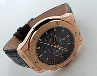 Мужские часы HUBLOT - Big Bang кожаный черный ремешок, цвет золото