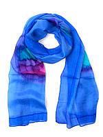 Шарф синий, натуральный шелк, производство Индии