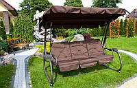Большая садовая качеля Victoria,с козырьком,4 человека,коричневая