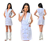 Платье Белое с пуговицами на юбке