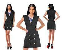 Платье Черное с пуговицами на юбке