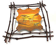 Картина Африка Жираф стиль декупаж на коже ручная работа handmade