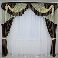 Готовые шторы с ламбрекеном в гостинную