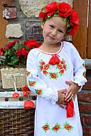 """Детская туника вышиванка """"Маки красные"""" с длинным рукавом для девочки"""