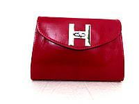 Красивая маленькая женская сумочка-клатч 100% кожа  Красный