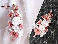 """""""Бело-персиковые розы"""" бутоньерка для жениха или свидетеля"""