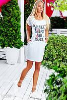 Женское летнее платье с карманами оригинальным принтом впереди короткое двунить вставка органза