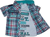 Детский комплект клетчатая рубашка с футболкой для мальчика Турция