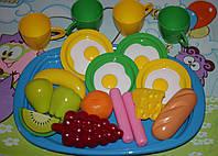 """Игровой набор """"Готовим завтрак"""" на подносе.  Игровые муляжи продуктов, овощей и фруктов от ТМ Орион"""