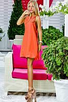 Молодежное шифоновое женское платье на бретельках