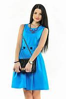 Платье Голубое короткое с карманами