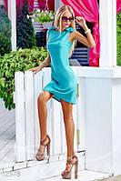 Женское короткое платье трапеция без рукавов с бантами на плечах шифон