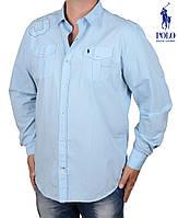 Мужская рубашка из плотного хлопка.Фирменная рубашка ПОЛО