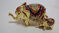 Шкатулка с камнями Слоны размер 10*5*6
