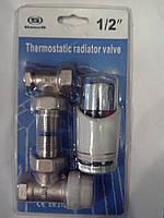 Набор кранов для радиатора угловой с термоголовкой