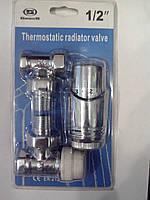 Набор кранов для радиатора угловой хромированный с термоголовкой