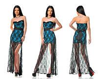 Платье вечернее бирюзовое с гипюром