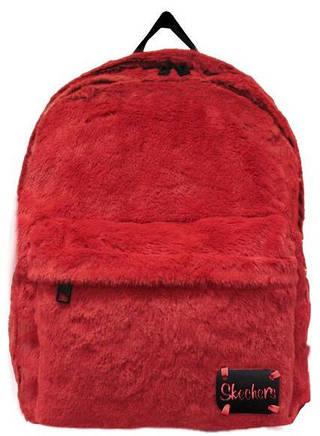 Пушистый женский рюкзак 21 л. Skechers Furry Jump 75101;35 красный