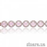 Серебряный браслет с позолотой и розовым кварцем 29517